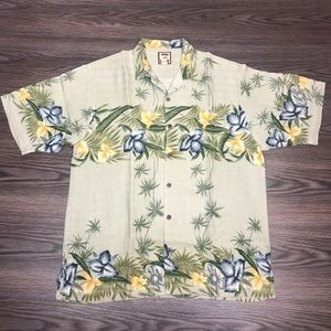 Tommy Bahama Tan Floral Hawaiian Silk Shirt M